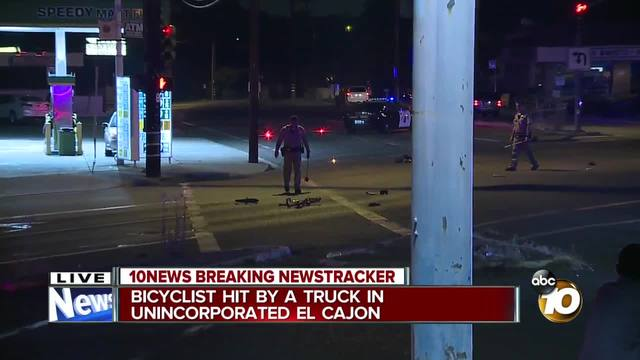 Bicyclist hit by truck in unincorporated El Cajon