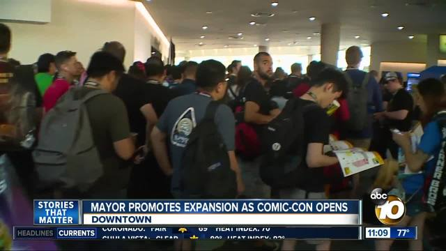 Mayor promotes Convention Center expansion as Comic-Con 2018 begins