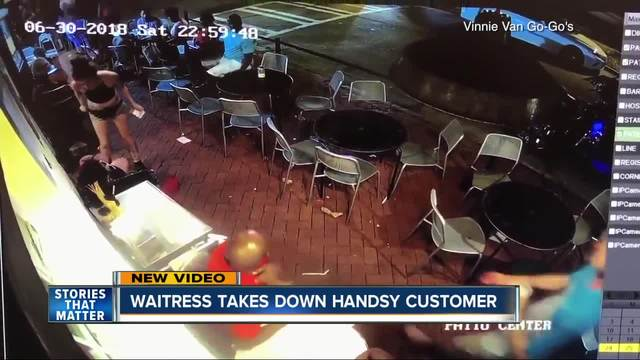Woman-s takedown of customer after groping caught on video