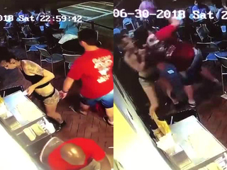 Waitress takes down customer after groping