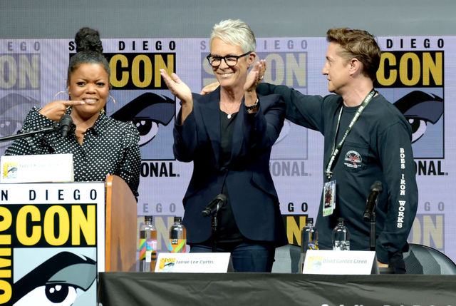 jamie lee curtis and david gordon green speak onstage at universal pictures glass and halloween panels during comic con international 2018 at san