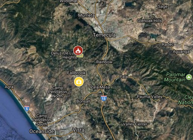 Interactive Fire Map Multi Acre Blaze Threatens Homes In Fallbrook