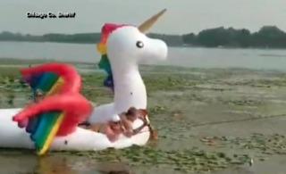 Group of women rescued from unicorn floatie