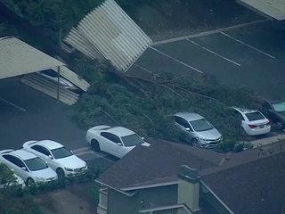 Tree falls at apartment complex, damages carport