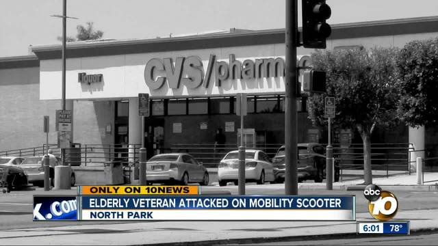 Elderly veteran attacked on mobility scooter in North Park