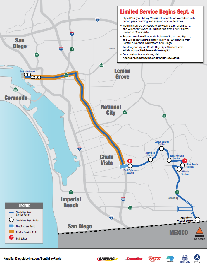 South Bay Rapid Bus Service From East Chula Vista To