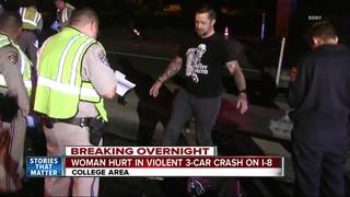 Woman hospitalized in suspected DUI crash