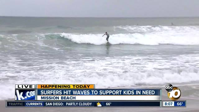 Surfers hit waves to support kids in need