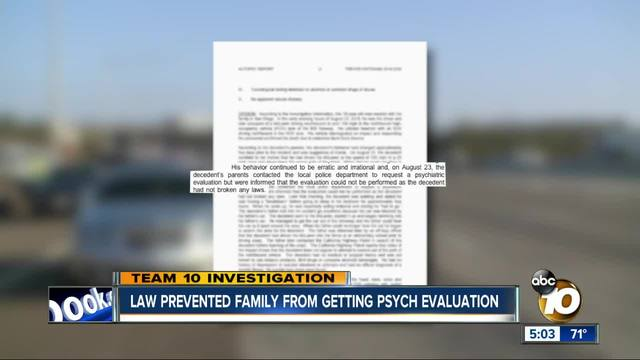Law prevented family from getting psych evaluation