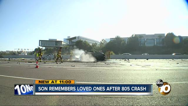 Son remembers loved ones after 805 crash
