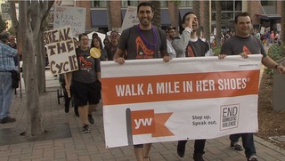Men in high heels fight domestic violence