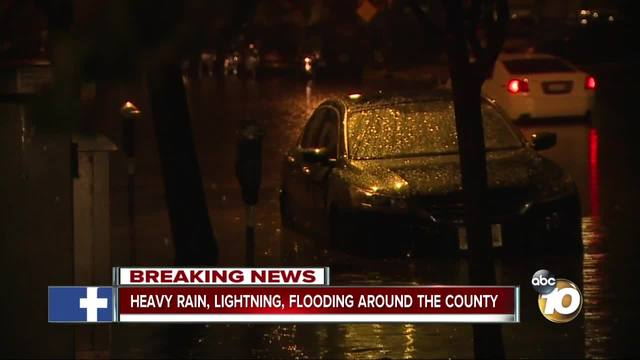 Heavy rain- lightning- flooding around San Diego County