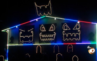 Watch: Halloween light display by electrician