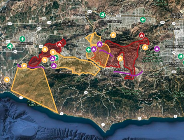 Hills Fire Map.Interactive Map Hill Woolsey Fires Burn In Ventura County
