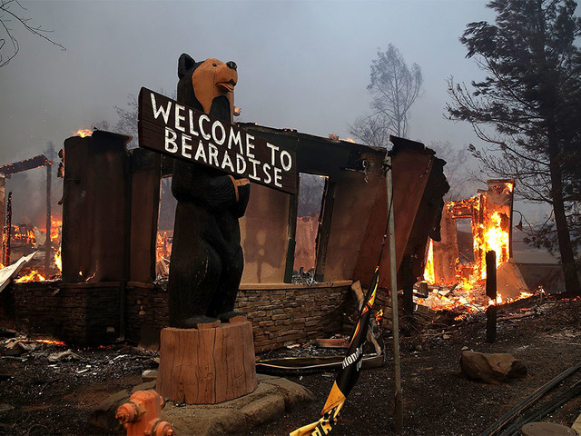 Paradise Ca November  A Business Burns As The Camp Fire Moves Through The Area On November   In Paradise California